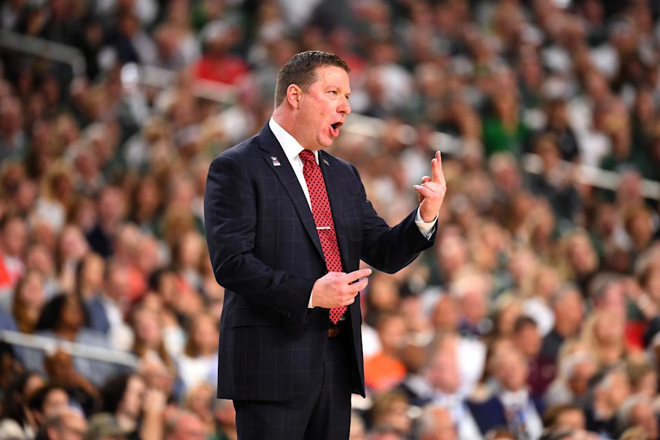 Head coach Chris Beard of the Texas Tech Red Raiders reacts during the first half of the semifinal game in the NCAA Men's Final Four at U.S. Bank Stadium on April 06, 2019 in Minneapolis, Minnesota. (Photo by Jamie Schwaberow/NCAA Photos via Getty Images)