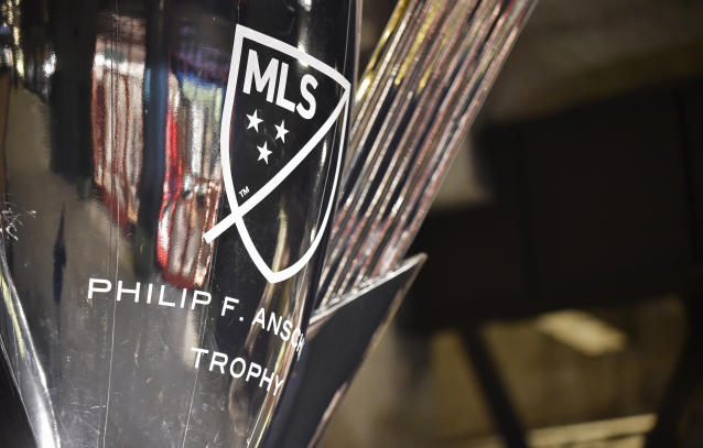 A replica of the Philip F. Anschultz trophy, awarded to the MLS Cup champion. (Getty)