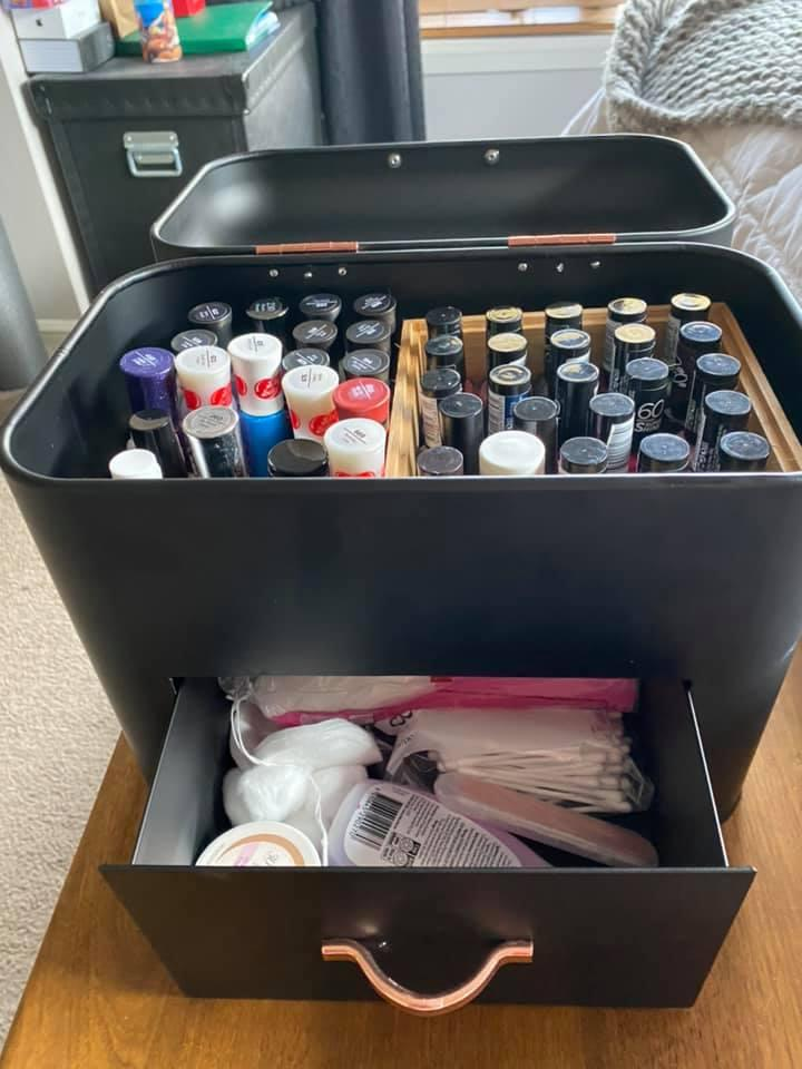 With a few easy tweaks, the bread bin is now a stylish nail polish caddy. Photo: Facebook (supplied).