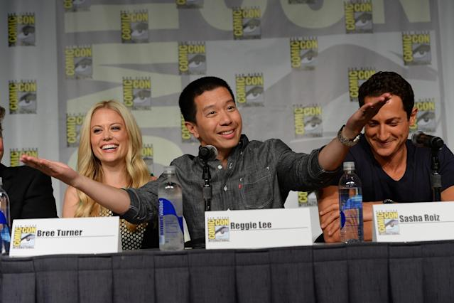 "Claire Coffee, Reggie Lee, Sasha Roiz at NBC's ""Grimm"" Panel during San Diego Comic-Con 2013 on Saturday, July 20."