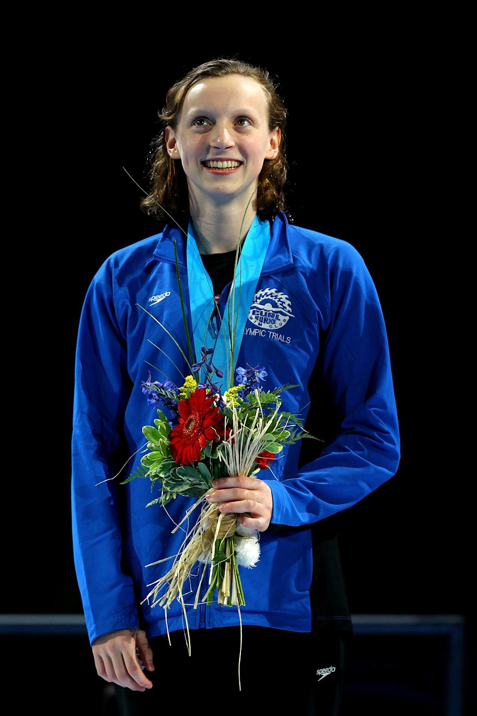 America's youngest swimmer, Kathleen Ledecky, 15, participates in the medal ceremony for the Women's 800 m Freestyle during Day Seven of the 2012 U.S. Olympic Swimming Team Trials at CenturyLink Center on July 1, 2012 in Omaha, Nebraska. (Al Bello/Getty Images)