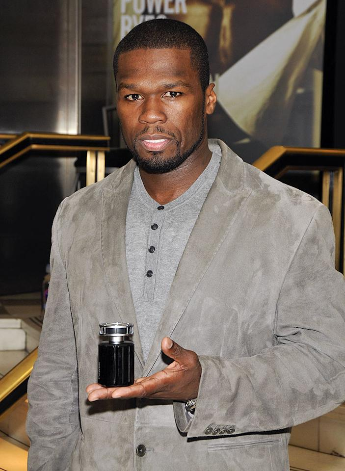 "50 Cent introduces his new fragrance, called Power, at Macy's Herald Square in New York. Eugene Gologursky/<a href=""http://www.wireimage.com"" target=""new"">WireImage.com</a> - November 5, 2009"