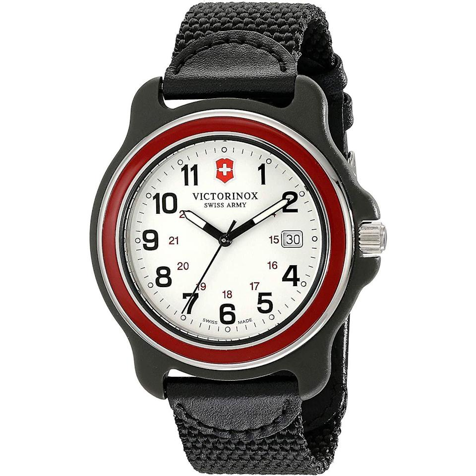"""<p><strong>Victorinox</strong></p><p>amazon.com</p><p><strong>$125.00</strong></p><p><a href=""""https://www.amazon.com/dp/B00OKYMY5Q?tag=syn-yahoo-20&ascsubtag=%5Bartid%7C10054.g.35351418%5Bsrc%7Cyahoo-us"""" rel=""""nofollow noopener"""" target=""""_blank"""" data-ylk=""""slk:Shop Now"""" class=""""link rapid-noclick-resp"""">Shop Now</a></p><p>Victorinox's Original XL <em>also</em> comes with a very Swiss Army Knife-y red bezel.</p>"""