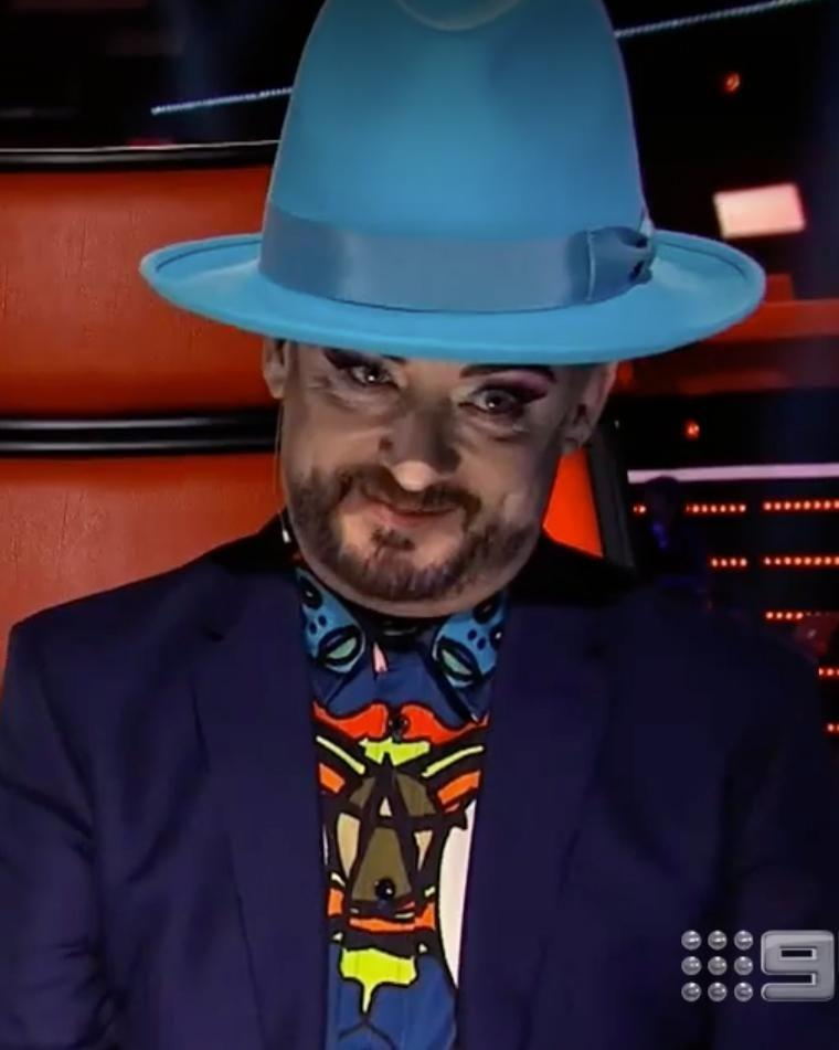 Sam opted to go for Kelly's team, but that left good ol' Boy George just slightly salty. Source: Nine