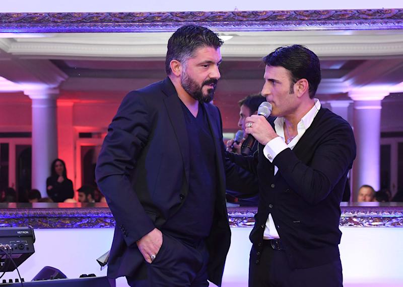 Sal da Vinci con Gennaro Gattuso durante un evento del Napoli Calcio a fine 2019 (Photo by SSC NAPOLI/SSC NAPOLI via Getty Images)