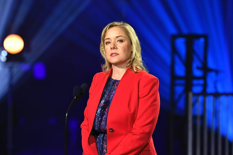 UNIVERSAL CITY, CALIFORNIA - NOVEMBER 19: United States Olympic Committee CEO Sarah Hirshland speaks onstage during the 2019 Team USA Awards at Universal Studios Hollywood on November 19, 2019 in Universal City, California. (Photo by Amy Sussman/Getty Images)