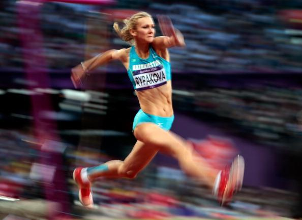 Olga Rypakova of Kazakhstan compete in the Women's Triple Jump final on Day 9 of the London 2012 Olympic Games at the Olympic Stadium on August 5, 2012 in London, England. (Photo by Adam Pretty/Getty Images)