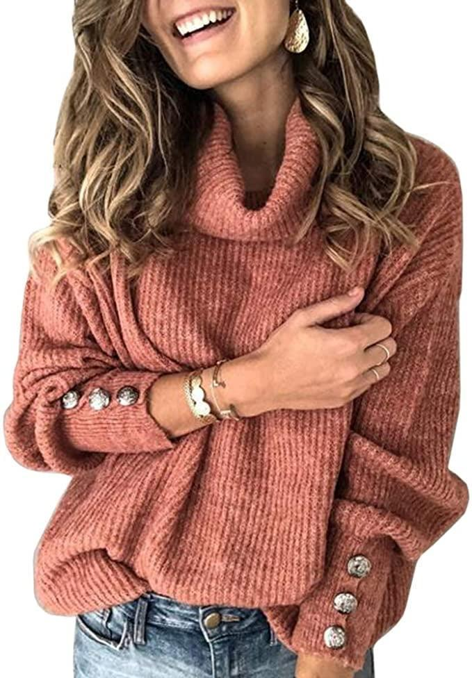 <p>The faux-button details on this <span>Sovelen Turtleneck Chunky Pullover Sweater</span> ($20-$36) easily won us over but now which of the 15 colors is best (with <em>both</em> solids and stripes to choose)?!</p>