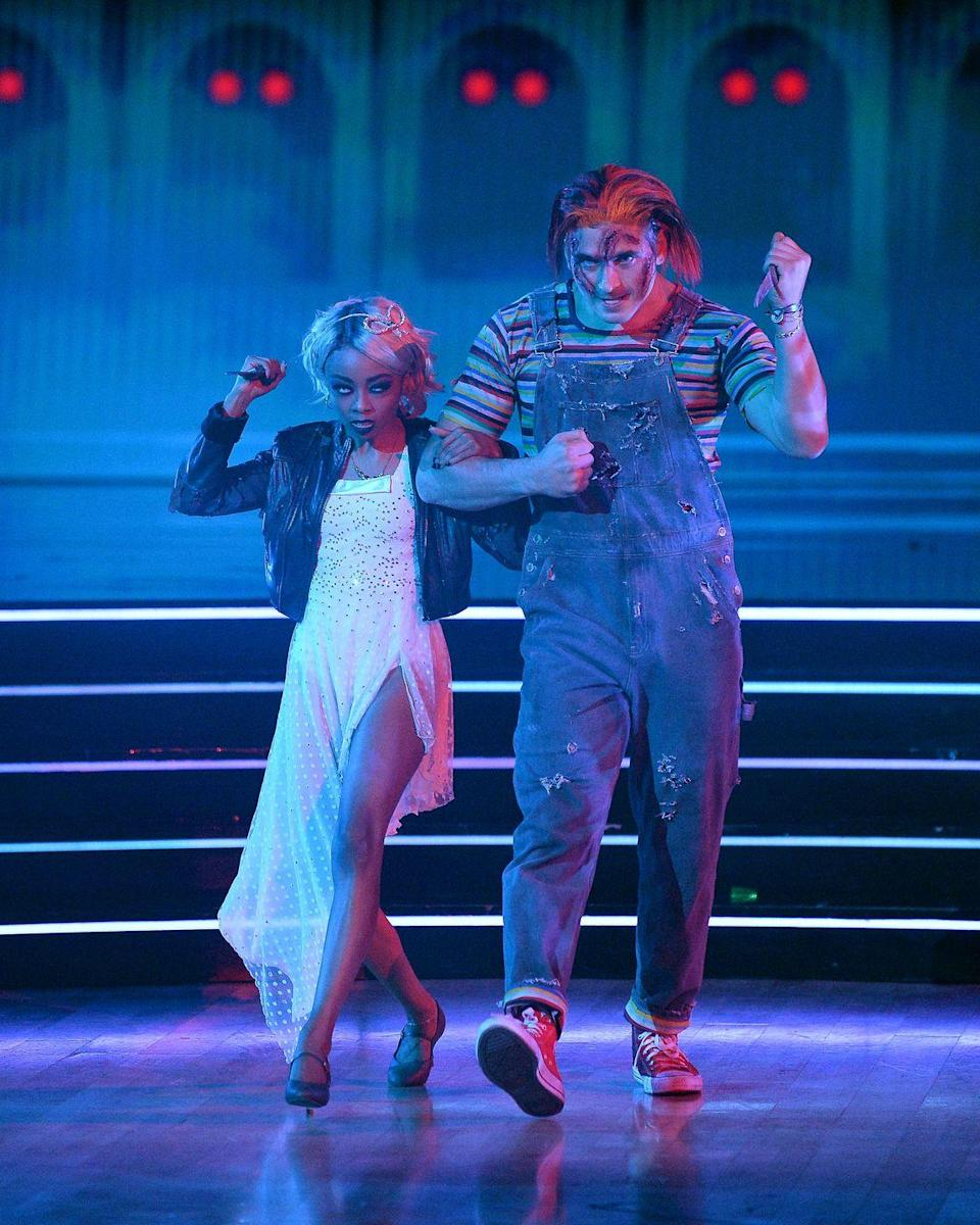 <p>Pictured here with her <em>Dancing With the Stars</em> partner Alan Bersten, Skai dressed up as Tiffany Valentine from the <em>Chucky</em> movies. </p>