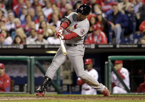 St. Louis Cardinals' Carlos Beltran hits a solo home run against the Philadelphia Phillies in the eight inning of a baseball game on Thursday, April 18, 2013, in Philadelphia. The Cardinals won 4-3. (AP Photo/H. Rumph Jr)