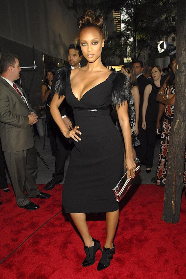 """Tyra, you are no longer in the running to become """"America's Next Top Model"""" thanks to this gothic getup...and as a result of pretty much everything you wear in public. The following photo demonstrates this notion. Kevin Mazur/<a href=""""http://www.wireimage.com"""" target=""""new"""">WireImage.com</a> - September 6, 2007"""