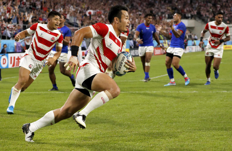 FILE - In this Oct. 5, 2019, file photo, Japan's Kenki Fukuoka runs in to score a try during the Rugby World Cup Pool A game at City of Toyota Stadium between Japan and Samoa in Tokyo City, Japan. Fukuoka will retire after playing for the Panasonic Wild Knights against Suntory Sungoliath in the final of Japan's Top League club competition on Sunday May 23. (AP Photo/Shuji Kajiyama, File)