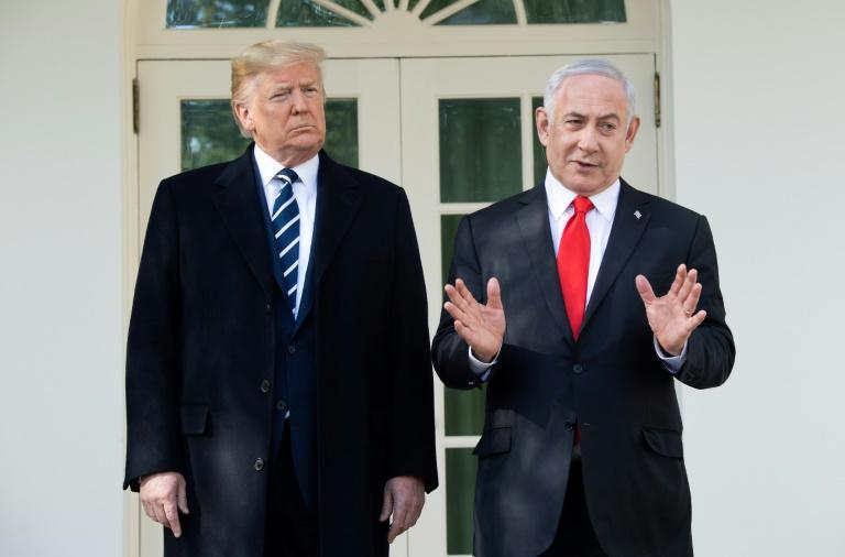 US President Donald Trump and Israeli Prime Minister Benjamin Netanyahu speak to the press in January 2020 before Trump unveils his plan for the Middle East (AFP Photo/SAUL LOEB)