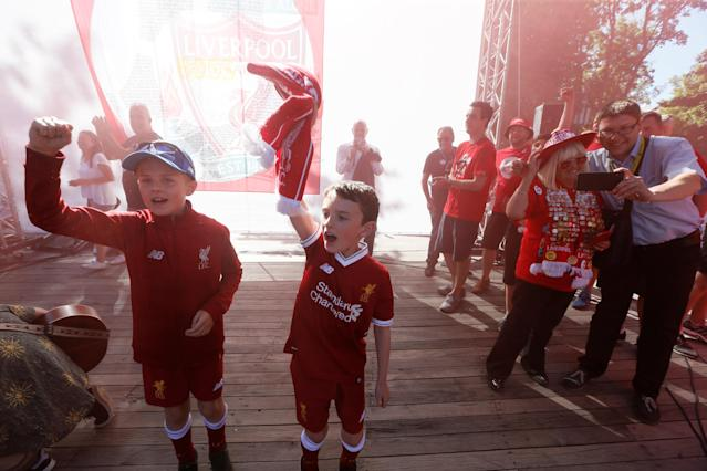 Soccer Football - Champions League Final - Real Madrid v Liverpool - Kiev, Ukraine - May 26, 2018 Liverpool fans in Kiev before the match REUTERS/Valentyn Ogirenko