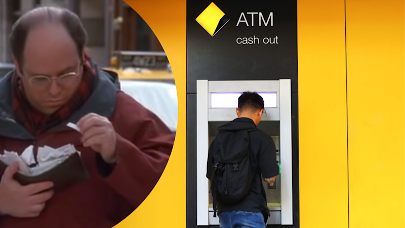 Pictured: Man withdraws money from CommBank ATM, screenshot of George Costanza in television show Seinfeld. Images: Getty, Sony Pictures Television