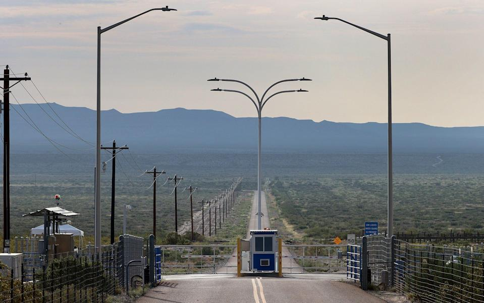 The gate to Jeff Bezos' Blue Origin operations in West Texas - Joe Raedle/Getty Images North America