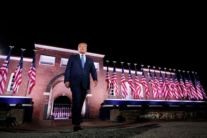 President Donald Trump walks to the stage after Vice President Mike Pence delivered a speech on the third day of the Republican National Convention at Fort McHenry in Baltimore on Aug. 26, 2020.