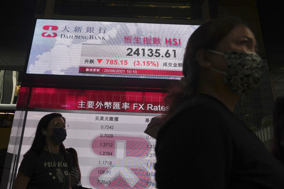 People walk past a bank's electronic board showing the Hong Kong share index at Hong Kong Stock Exchange in Hong Kong Monday, Sept. 20, 2021. Shares fell more than 3% in Hong Kong on Monday in holiday-thinned trading in Asia, with both Tokyo and Shanghai closed. (AP Photo/Vincent Yu)