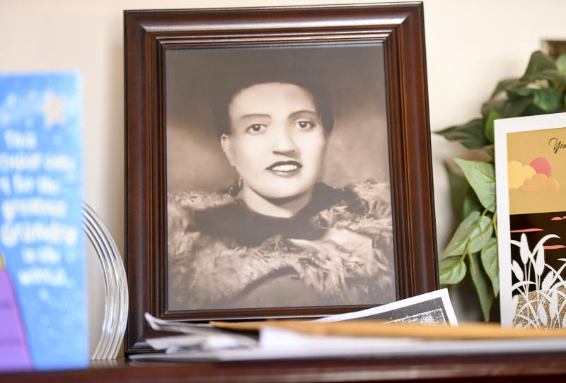 BALTIMORE, MD - MARCH 22: A photo of Henrietta Lacks, sits in the living room of her grandson, Ron Lacks, 57, n Baltimore, MD on March 22, 2017. (Photo by Jonathan Newton/The Washington Post via Getty Images)