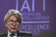 European Commissioner in charge of internal market Thierry Breton speaks during a media conference on an EU approach to artificial intelligence, following a weekly meeting of EU Commissioners, at EU headquarters in Brussels, Wednesday, April 21, 2021. (Olivier Hoslet, Pool via AP)