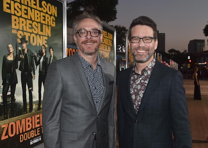 """WESTWOOD, CALIFORNIA - OCTOBER 10: Paul Wernick and Rhett Reese attend the premiere of Sony Pictures' """"Zombieland Double Tap"""" at The Regency Village Theatre on October 10, 2019 in Westwood, California. (Photo by Alberto E. Rodriguez/Getty Images)"""