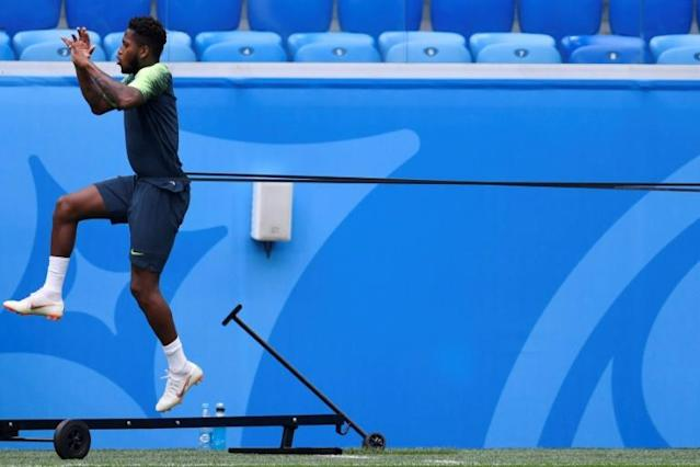 Brazil's midfielder Fred, seen in training ahead of his country's Group E match against Costa Rica, said working with United coach Jose Mourinho was an opportunity he could not pass up