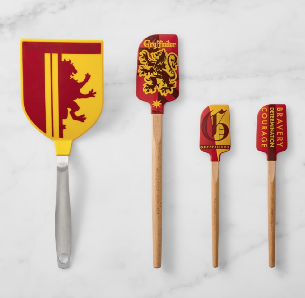 """<p>Choose between either your house (<a href=""""http://williams-sonoma.7eer.net/c/249354/265127/4291?subId1=FW%2Cspatulas-harry-potter-gifts-1118.jpg%2Cmsoll1271%2C%2CIMA%2C1323742%2C201910%2CI,FW&u=https%3A%2F%2Fwww.williams-sonoma.com%2Fproducts%2Fharry-potter-gryffindor-ultimate-silicone-spatula-set%2F"""" target=""""_blank"""">Gryffindor</a>, <a href=""""http://williams-sonoma.7eer.net/c/249354/265127/4291?subId1=FW%2Cspatulas-harry-potter-gifts-1118.jpg%2Cmsoll1271%2C%2CIMA%2C1323742%2C201910%2CI,FW&u=https%3A%2F%2Fwww.williams-sonoma.com%2Fproducts%2Fharry-potter-ravenclaw-ultimate-silicone-spatula-set%2F"""" target=""""_blank"""">Ravenclaw</a>, <a href=""""http://williams-sonoma.7eer.net/c/249354/265127/4291?subId1=FW%2Cspatulas-harry-potter-gifts-1118.jpg%2Cmsoll1271%2C%2CIMA%2C1323742%2C201910%2CI,FW&u=https%3A%2F%2Fwww.williams-sonoma.com%2Fproducts%2Fharry-potter-hufflepuff-silicone-ultimate-spatula-set%2F"""" target=""""_blank"""">Hufflepuff</a> or <a href=""""http://williams-sonoma.7eer.net/c/249354/265127/4291?subId1=FW%2Cspatulas-harry-potter-gifts-1118.jpg%2Cmsoll1271%2C%2CIMA%2C1323742%2C201910%2CI,FW&u=https%3A%2F%2Fwww.williams-sonoma.com%2Fproducts%2Fharry-potter-slytherin-ultimate-silicone-spatula-set%2F"""" target=""""_blank"""">Slytherin</a>) or go with a general <a href=""""http://williams-sonoma.7eer.net/c/249354/265127/4291?subId1=FW%2Cspatulas-harry-potter-gifts-1118.jpg%2Cmsoll1271%2C%2CIMA%2C1323742%2C201910%2CI,FW&u=https%3A%2F%2Fwww.williams-sonoma.com%2Fproducts%2Fharry-potter-hogwarts-silicone-spatulas-set-of-3%2F"""" target=""""_blank"""">Hogwarts set</a> for when you need to whip up the perfect dessert during the holidays.</p> <p><strong>Harry Potter Silicone Spatula Set, $40 at <a href=""""http://williams-sonoma.7eer.net/c/249354/265127/4291?subId1=FW%2Cspatulas-harry-potter-gifts-1118.jpg%2Cmsoll1271%2C%2CIMA%2C1323742%2C201910%2CI,FW&u=https%3A%2F%2Fwww.williams-sonoma.com%2Fproducts%2Fharry-potter-gryffindor-ultimate-silicone-spatula-set%2F"""" target=""""_blank"""">williams-sonoma.com</a></strong"""