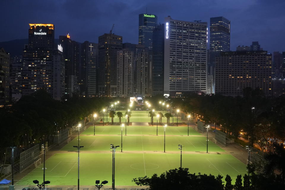 Hong Kong Victoria Park is seen Friday, June 4, 2021. Police arrested an organizer of Hong Kong's annual candlelight vigil remembering the deadly Tiananmen Square crackdown and warned people not to attend the banned event Friday as authorities mute China's last pro-democracy voices. In past years, tens of thousands of people gathered in Hong Kong's Victoria Park to honor those who died when China's military put down student-led pro-democracy protests on June 4, 1989. Hundreds, if not thousands were killed. (AP Photo/Vincent Yu)