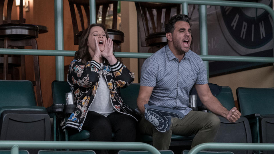 Melissa McCarthy and Bobby Cannavale in comedy 'Superintelligence'. (Credit: Hopper Stone/Warner Bros)