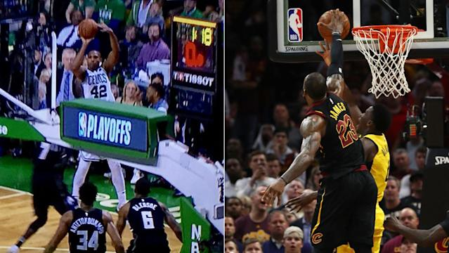 "<a class=""link rapid-noclick-resp"" href=""/nba/players/4245/"" data-ylk=""slk:Al Horford"">Al Horford</a>'s shot-clock violation (left) and <a class=""link rapid-noclick-resp"" href=""/nba/players/3704/"" data-ylk=""slk:LeBron James"">LeBron James</a>' goaltend stirred controversy. (Fox Sports screenshot/Getty Images)"