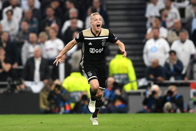 Donny van de Beek of Ajax celebrates as he scores against Tottenham. (Credit: Getty Images)