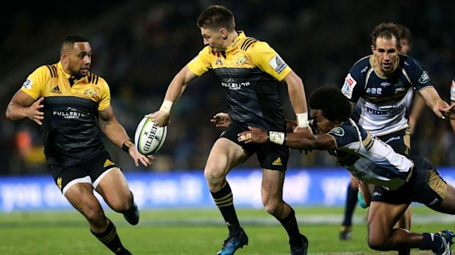 Beauden Barrett and Vincent Aso produced mesmerising displays as Hurricanes scored 42 unanswered second-half points to defeat Brumbies.