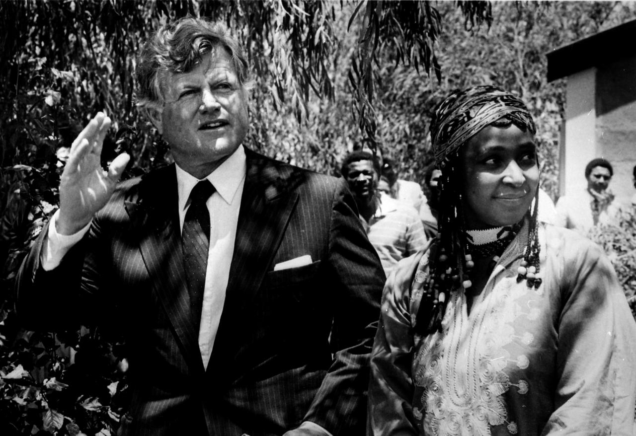 <p>Sen. Edward Kennedy made an emotional visit to banned Mrs. Winnie Mandela, who is the wife of Africa National Congress (ANC) leader Nelson Mandela in Brandfort, South Africa, on Jan 9, 1985. Nelson Mandela has been in prison for more than 20 years. The senator said that Winnie Mandela was courageous and concerned for her country. (Photo: Greg English/Reuters) </p>