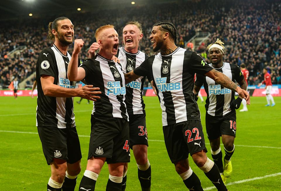 NEWCASTLE UPON TYNE, ENGLAND - OCTOBER 06: Matthew Longstaff of Newcastle United (43) celebrates after scoring his first Premier League and Newcastle's goal during the Premier League match between Newcastle United and Manchester United at St. James Park on October 06, 2019 in Newcastle upon Tyne, United Kingdom. (Photo by Serena Taylor/Newcastle United via Getty Images)