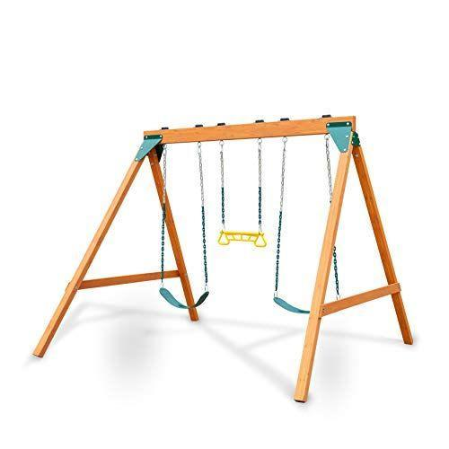 """<p><strong>Swing-N-Slide</strong></p><p>amazon.com</p><p><strong>$289.00</strong></p><p><a href=""""https://www.amazon.com/dp/B07R37FP8K?tag=syn-yahoo-20&ascsubtag=%5Bartid%7C10055.g.35853477%5Bsrc%7Cyahoo-us"""" rel=""""nofollow noopener"""" target=""""_blank"""" data-ylk=""""slk:Shop Now"""" class=""""link rapid-noclick-resp"""">Shop Now</a></p><p>This wooden swing set features a classic A-frame styling and is crafted with sturdy cedar. It comes with two swings and a trapeze, which can be easily swapped with alternate swing options such as a <a href=""""https://www.amazon.com/Swing-N-Slide-WS-4891-Bucket-Toddler/dp/B08973VQ99?tag=syn-yahoo-20&ascsubtag=%5Bartid%7C10055.g.35853477%5Bsrc%7Cyahoo-us"""" rel=""""nofollow noopener"""" target=""""_blank"""" data-ylk=""""slk:bucket swing"""" class=""""link rapid-noclick-resp"""">bucket swing</a> for toddlers or a <a href=""""https://www.amazon.com/Swing-N-Slide-Person-Glider-Prevent-Pinching/dp/B00V036WRQ?tag=syn-yahoo-20&ascsubtag=%5Bartid%7C10055.g.35853477%5Bsrc%7Cyahoo-us"""" rel=""""nofollow noopener"""" target=""""_blank"""" data-ylk=""""slk:glider"""" class=""""link rapid-noclick-resp"""">glider</a>. It doesn't offer any added play features, but <strong>its simplicity keeps the cost much lower than other sets. </strong>All chains are coated with plastisol to prevent pinched fingers and rust, and the set meets ASTM safety standards.</p><p><em>Assembled dimensions: 8'8 x 7'8 x 6'10</em></p>"""