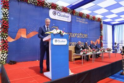 Quaker executives speak at the opening of the company's newest manufacturing plant in Dahej, India.