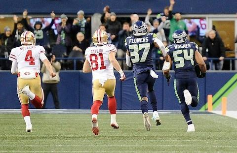 <span>Bobby Wagner's 98-yard pick six was the highlight as the Seahawks steamrolled the 49ers</span> <span>Credit: James Snook/USA TODAY </span>