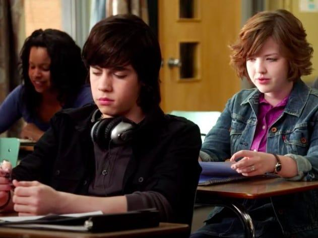 eli and clare in class on degrassi