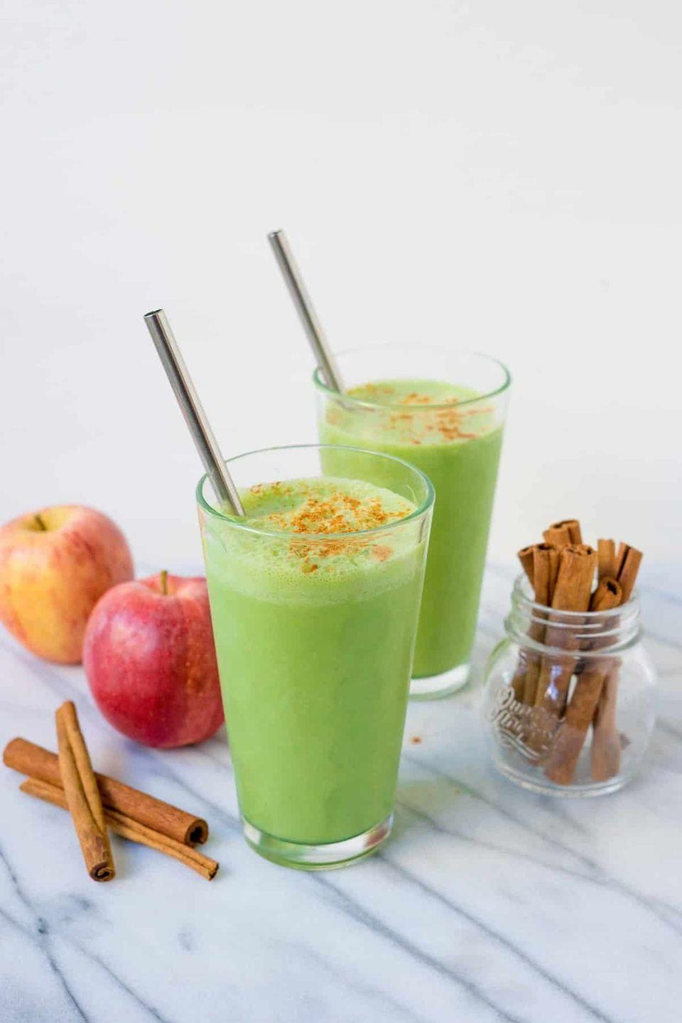 """<p>Another fall vibe, this apple pie spinach smoothie will totally get you in the crisp autumn mood. It has all the good stuff: apple cider vinegar, apple sauce, baby spinach, Greek yogurt, cinnamon, vanilla extract and more. <em><br></em></p><p><em>Per serving: 292 cals, 1 g fat, 61 g carbs, 6 g fiber, 42 g sugar, 14 g protein</em></p><p><a class=""""link rapid-noclick-resp"""" href=""""https://wholefully.com/apple-pie-spinach-smoothie/"""" rel=""""nofollow noopener"""" target=""""_blank"""" data-ylk=""""slk:Get the recipe"""">Get the recipe</a></p>"""