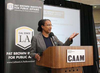 EVITARUS partner and lead researcher Shakari Byerly outlines the findings of the new Cal State LA poll. (Credit: Ty Washington/Cal State LA)