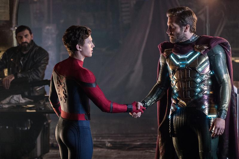 "(l to r) Numan Acar, Tom Holland and Jacky Gyllenhaal in Sony/Columbia Pictures' ""Spider-Man: Far From Home."""
