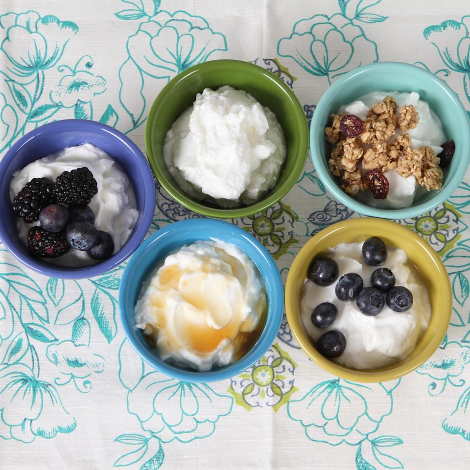 """Homemade yogurt requires very little special equipment. You can use whatever slow cooker you have on hand—and while yogurt requires at least five hours to incubate, there's only about 30 minutes of active time. You can even make the yogurt before going to bed and let it incubate overnight. <a href=""""https://www.epicurious.com/recipes/food/views/homemade-yogurt-395111?mbid=synd_yahoo_rss"""" rel=""""nofollow noopener"""" target=""""_blank"""" data-ylk=""""slk:See recipe."""" class=""""link rapid-noclick-resp"""">See recipe.</a>"""