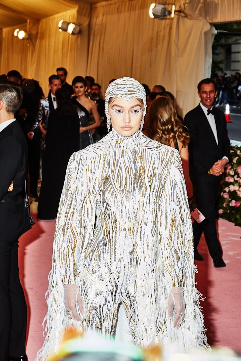 Gigi Hadid on the red carpet at the Met Gala in New York City on Monday, May 6th, 2019. Photograph by Amy Lombard for W Magazine.