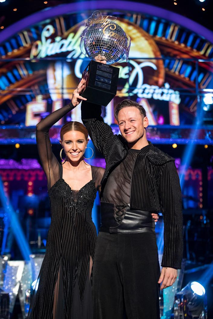 Strictly Come Dancing 2018 winners Kevin Clifton and Stacey Dooley (Credit: Guy Levy/BBC)