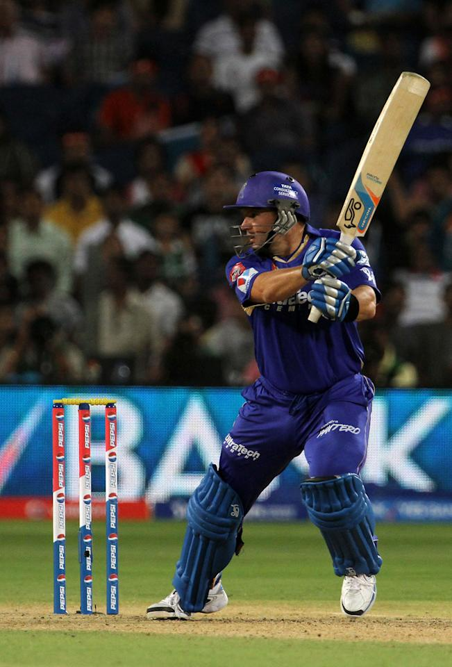 Rajasthan Royals player Brad Hodge plays a shot during match 13 of the Pepsi Indian Premier League ( IPL) 2013  between The Pune Warriors India and the Rajasthan Royals held at the Subrata Roy Sahara Stadium, Pune on the 11th April  2013..Photo by Vipin Pawar-IPL-SPORTZPICS ..Use of this image is subject to the terms and conditions as outlined by the BCCI. These terms can be found by following this link:..https://ec.yimg.com/ec?url=http%3a%2f%2fwww.sportzpics.co.za%2fimage%2fI0000SoRagM2cIEc&t=1498511071&sig=0I6gonpJXVWX8FC3blhpEQ--~C