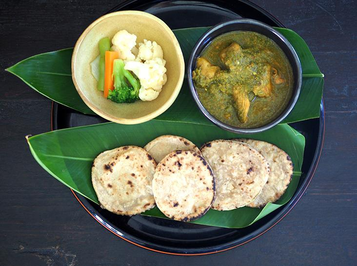 Even if you're busy with 'work at home', you can still enjoy a wholesome meal like this green chili chicken with mini chapati and vegetables. – Pictures by Lee Khang Yi