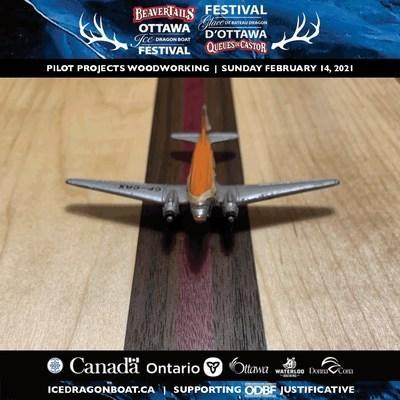 "The BeaverTails Ottawa Ice Dragon Boat Festival Virtual Edition is happy to present ""Bytown: Timber Beckoned Us, and the Water Shepherds Us"" by Pilot Projects Woodworking. Grounded due to the global pandemic, Ottawa based PILOT, Bill Geno, now creates hand-crafted PROJECTS that channel his aviator's precision and eye for detail through his passion for WOODWORKING. (CNW Group/Ottawa Ice Dragon Boat Festival)"