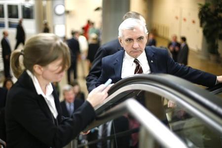 U.S. Senator Jack Reed (D-RI) (R) talks to reporters as he arrives for the weekly Democratic caucus luncheon at the U.S. Capitol in Washington, February 4, 2014. REUTERS/Jonathan Ernst