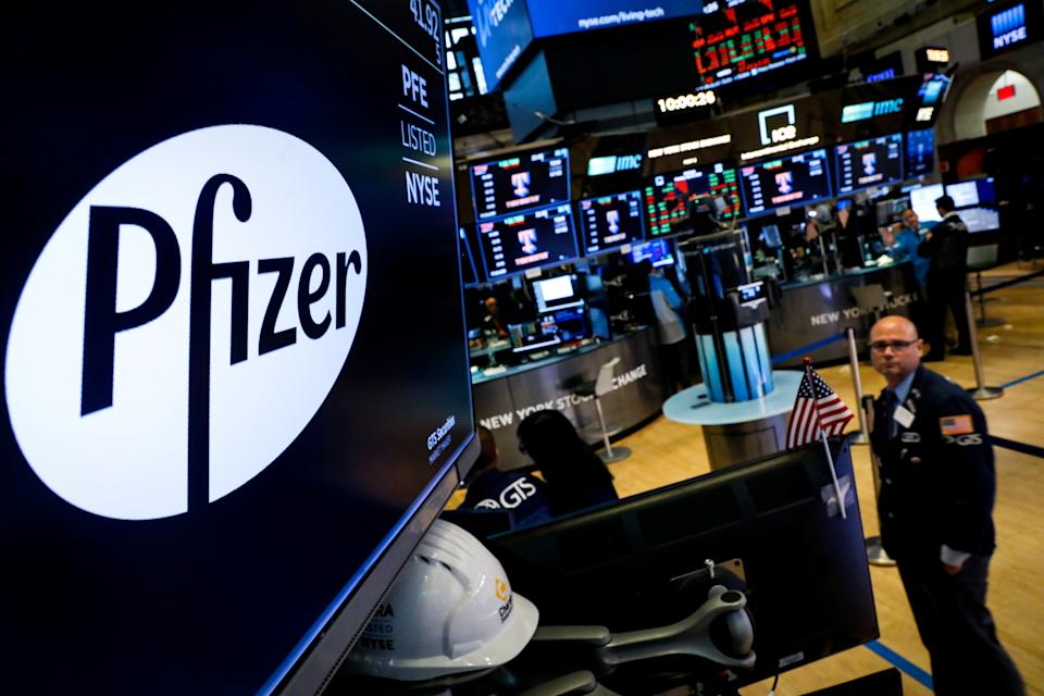 A logo for Pfizer is displayed on a monitor on the floor at the New York Stock Exchange (NYSE) in New York, U.S., July 29, 2019. REUTERS/Brendan McDermid