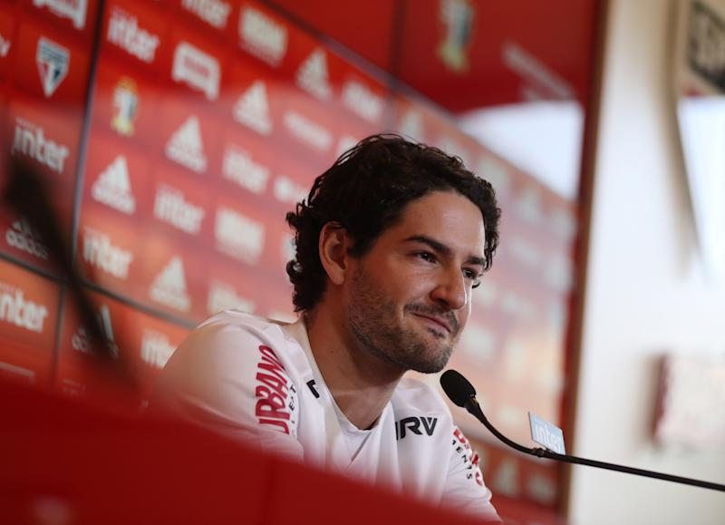 Sao Paulo's newly-signed player Alexandre Pato attends a news conference in Sao Paulo, Brazil March 29, 2019 REUTERS/Amanda Perobelli